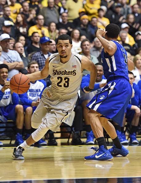 WICHITA, KS - FEBRUARY 11: Guard Fred VanVleet #23 of the Wichita State Shockers drives past guard Brenton Scott #4 of the Indiana State Sycamores during the first half on February 11, 2015 at Charles Koch Arena in Wichita, Kansas. (Photo by Peter Aiken/Getty Images)